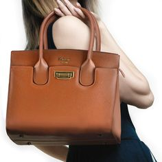 The New Season Aurora Handbag Genuine Italian Saffiano Leather Available In Black Cognac