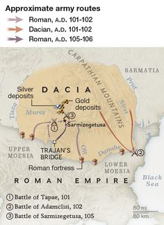Map of the routes Roman and Dacian armies took during the Dacian Wars