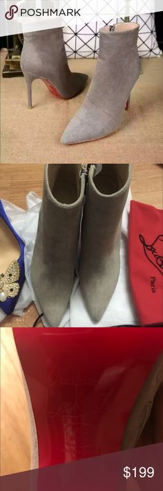 Suede booties Light gray real suede red bottom booties. Got from someone else, so can't guarantee authenticity. No box but come in dust bag. Size 37, run big, 7.5 will be perfect. Too big for me😢 please no lowball offers! Christian Louboutin Shoes Ankle Boots & Booties