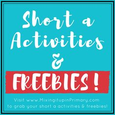 Visit Mixing it up in Primary for links to short a activities! Don't forget to grab your FREEBIES! Short A Activities, Word Family Activities, Abc Activities, Teaching Kids, Teaching Resources, Short O, Reading Fluency, Book Suggestions, Word Families