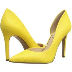 Jessica Simpson Claudette (Sour Lemon Bright Lizzard Print) High Heels ($45) ❤ liked on Polyvore featuring shoes, pumps, yellow, print pumps, bright yellow pumps, bright colored pumps, yellow pumps and bright pumps