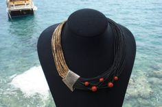ECOFRIENDLY NECKLACE.SilverLinenRed by AspasiaCreations on Etsy, €215.90