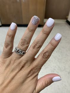 White square short acrylic nails with silver glitter accent nail<br> White Acrylic Nails With Glitter, White And Silver Nails, Acrylic Nails Stiletto, Glitter Accent Nails, Silver Glitter Nails, Light Pink Nails, Square Acrylic Nails, Yellow Nails, Purple Nails