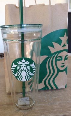 NEW Starbucks Double-walled GLASS Cold Cup Tumbler Mug 20 fl oz #Starbucks