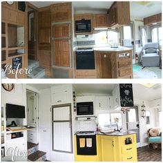 Before and after photos of a camper kitchen renovation