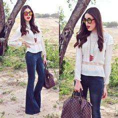 Zara Blouse, Free People Flare Jeans, Louis Vuitton Bag