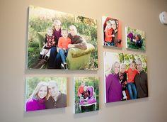 Family Photo Wall Display Idea - I love the bright colors of the photos too!