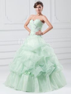 53ffa61dee3 Milanoo   Sweetheart Pageant Dress Princess Ballgown Flower Strapless Tulle  Beading Pleated Floor-length Quinc