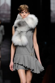 Plush fur scarves cement the luxe fur trend emerging at #MFW Ermanno Scervino