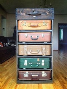 suitcase-drawers. It can only work if the suitcases have no top ...