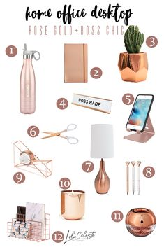 - Chic Rose Gold Accesories for a Feminine Home Office There's something about rose gold that's chic and boss all in one. Give your home office workspace some pop with these 12 rose gold office accessories. Study Room Decor, Cute Room Decor, Room Ideas Bedroom, Diy Bedroom Decor, Room Setup, Wall Decor, Gold Office Accessories, Gold Office Decor, Gold Office Supplies
