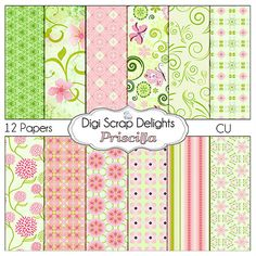 Priscilla Pink and Green Digital Papers Buy 2 Get 1 Free Digital Scrapbook Paper Pack for Scrapbooking, Card Making, Photo Backgrounds
