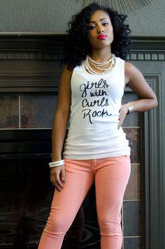 Girls With Curls Rock Tank natural hair by AprilRashadDesign, Cool Tees, Cool Tee Shirts