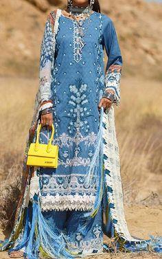 Denim Blue Lawn Suit   Buy Rang Rasiya Pakistani Dresses and Clothing online in USA, UK Pakistani Lawn Suits, Pakistani Dresses, Fashion Pants, Fashion Dresses, Rang Rasiya, Suits Online Shopping, Add Sleeves, Buy Rings, Lawn Fabric