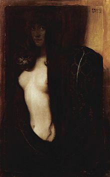 """Franz Stuck, """"The Sin"""" (1893).  Franz Stuck (February 24, 1863 – August 30, 1928), ennobled as Franz Ritter von Stuck in 1906, was a German symbolist/Art Nouveau painter, sculptor, engraver, and architect.Stuck's subject matter was primarily from mythology, inspired by the work of Arnold Böcklin. Large forms dominate most of his paintings and indicate his proclivities for sculpture. His seductive female nudes are a prime example of popular Symbolist content. [Wikipedia]"""