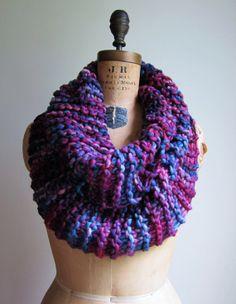 Big Chunky Knit cowl Purple. Navy Blue. Sky Blue. by Happiknits, $96.00