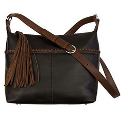 54f64a6cc0 Whipstitched Leather Hobo Handbag (Black  Toffee)   To view further for  this item