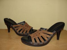 COLE HAAN Womens Size 8B #D19016 Brown Suede Leather Strappy Sandals Heels #ColeHaan #KittenHeels #Clubwear