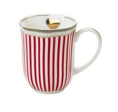 """Holiday"" Cup by Lisbeth Dahl Copenhagen Autumn/Winter 13. #LisbethDahlCph #Winter #Holiday #Cup #Red #Gold #Heart #Kitchen #Porcelain"