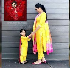 Mother and daughter matching suit design ideas - Indian Fashion Ideas Girls Dresses Sewing, Dresses Kids Girl, Baby Dresses, Mom Daughter Matching Dresses, Matching Clothes, Mother Daughter Fashion, Mother Daughters, Bridal Blouse Designs, Indian Designer Outfits