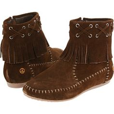 ➳➳➳☮ American Hippie Bohemian Boho Feathers Gypsy Spirit Style - Moccasin Boots