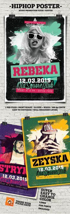 HipHop Flyer Poster Template PSD #design Download: http://graphicriver.net/item/hiphop-flyer-poster/14355253?ref=ksioks