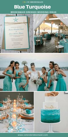 Bridesmaid Dresses Blue turquoise bridesmaid dresses long and short, styles, under good with blue turquoise wedding invitations, cakes and table cloth for weddings. Blue Wedding, Wedding Colors, Dream Wedding, Wedding Day, Turquoise Bridesmaid Dresses, Turquoise Weddings, Bridesmaids, Turquoise Wedding Decor, Wedding Invitations