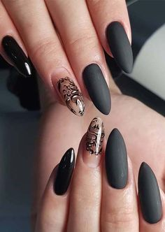 Visit here and see more beautiful ideas of modern looking nail arts and designs for We have compiled here so many best nail designs to wear in the recent times. Matte Black Nails, Black Nail Art, Beautiful Nail Designs, Cool Nail Designs, Fabulous Nails, Gorgeous Nails, Flamingo Nails, Nail Art Images, Modern Nails