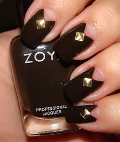 nail polish with gold trinkets and studs   Angular Half-Moons and Studs Nail Art with Zoya Codie