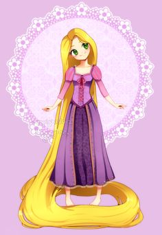 Rapunzel from Tangled, anime style