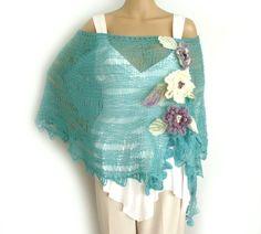 Boho poncho, Off shoulder poncho, Loose knit poncho, Knit cape, Lace knit stole, Beach wedding cape, Summer poncho, Freeform crochet flowers