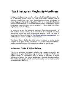 Top 5 instagram plugins by wordpress