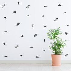 Surf Wall pattern decal / Surfing Home decor / Summer Beach vinyl sticker / Surfer palm tree cactus surfboard