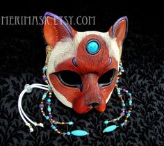 Turquoise Amethyst Siamese Cat Mask 1 by merimask on DeviantArt