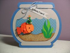 Handmade Birthday Card Fishbowl Card Birthday by GGgreetings, $3.95