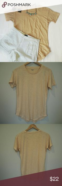 Madewell Whisper Cotton Crewneck T-shirt + Soft peach color  Reasonable offers are welcome! No trades :) Madewell Tops Tees - Short Sleeve