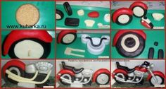 A picture tutorial of how to make fondant motorbike with lots of features.