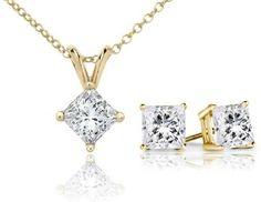 PARIKHS Princess Cut Diamond Solitaire Pendant & Diamond Stud Set Popular Quality in 14k Yellow Gold (1.70 ctw, I-J color, I1 clarity)