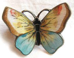 Vintage unusual signed Hjortdahl Norway enamel sterling butterfly brooch pin