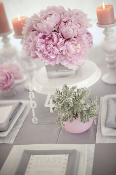 Pink peonies centerpiece- peony is one of the most romantic flowers! Mod Wedding, Trendy Wedding, Dream Wedding, Wedding Cake, Wedding Centerpieces, Wedding Decorations, Centrepieces, Table Rose, Table Flowers