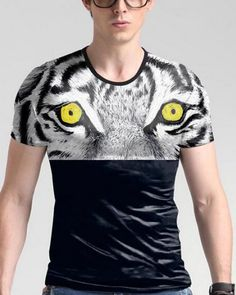 Tiger eyes 3d tshirts for big and tall men animal face plus size clothing