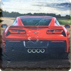 Red C7 Corvette Stone Tile Coaster