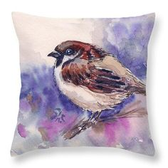 Chickadee Throw Pillow by Asha Sudhaker Shenoy