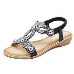 7d60227f6 Zicac Women s Rhinestone Sandals Summer Beach Flat Shoes ... https   smile