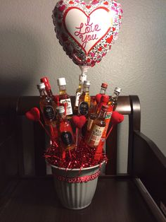 "How to Make a Mini Liquor Bouquet: could do a ""You comfort me"" theme with SoCo and boxers or something too"