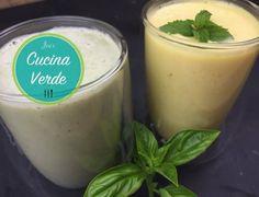 Basilikum-Lassi selber machen - Rezept von Joes Cucina Verde Mango Lassi, Smoothies, Pudding, Desserts, Food, Mango Recipes, Fried Cabbage Recipes, Vegetarian Recipes, Food Portions