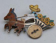 Margot De Taxco Mexico Sterling Silver Enameled Donkey Burro Cart Brooch Pin