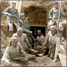 Tunneling by both sides became a dangerous and deadly occupation in The Great War - German Tunnelers c. Ww1 Photos, Colorized Photos, Ww1 Pictures, Colorized History, Wilhelm Ii, Kaiser Wilhelm, World War One, First World, Ww1 Soldiers