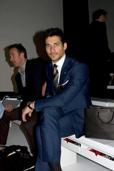 London Collections: Men. Waiting for the next show to begin  Model: David Gandy