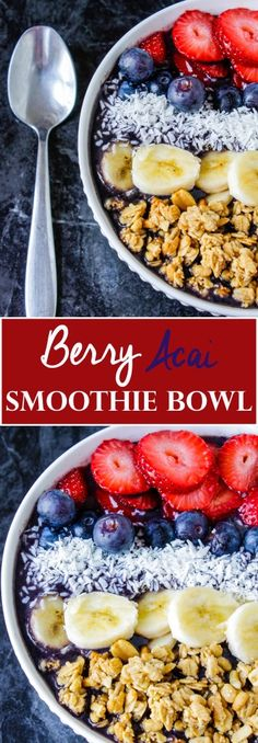 Smoothie Bowl Recipes that are Bright, Tasty and Budget Friendly - This berry a. - Smoothie Bowl Recipes that are Bright, Tasty and Budget Friendly – This berry acai bowl is a cla - Yummy Smoothies, Smoothie Recipes, Acai Smoothie Bowl Recipe, Protein Smoothies, Green Smoothies, Breakfast Smoothies, Juice Recipes, Smoothie Detox Plan, Acai Berry Bowl